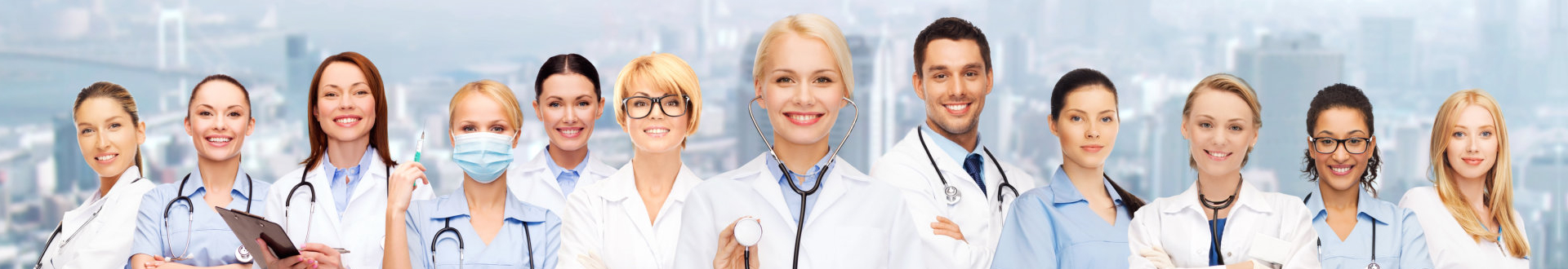 group of doctors with stethoscope